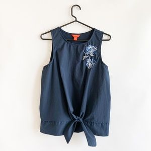 Joe Fresh Navy Embroidered Top Tie Front